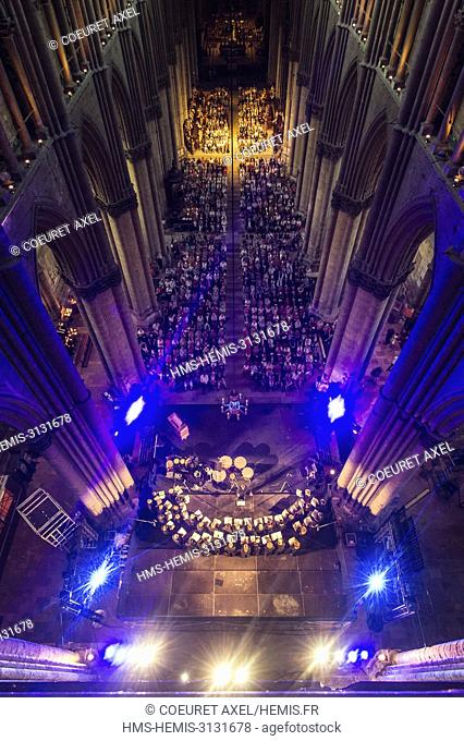 France, Marne, Reims, view of nave of the Cathedral listed as as World Heritage by UNESCO, from the triforium during a concert