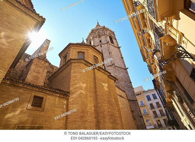 Valencia Plaza de la Virgen square and Miguelete tower and Cathedral at Spain
