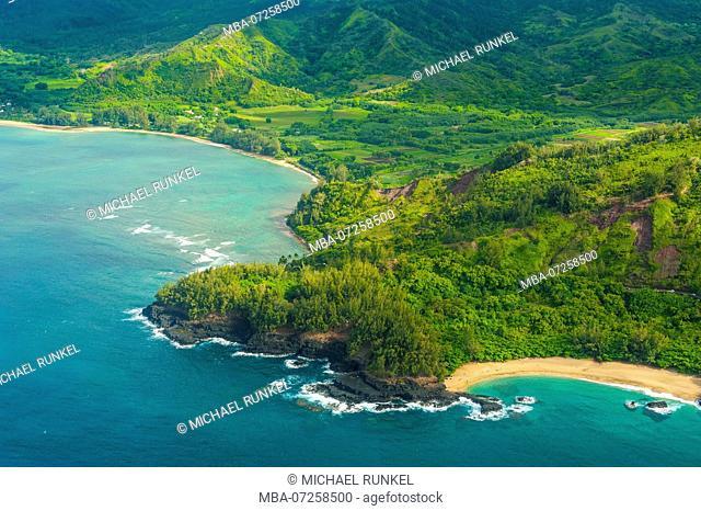 Aerial of the north shore of the island of Kauai, Hawaii