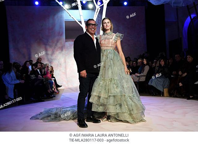 Guillermo Mariotto and Vanessa Hessler during the AltaRoma, in Rome, Italy, 27 January 2017. The fashion event runs from 26 to 29 January