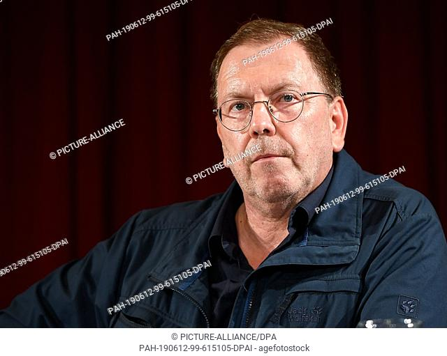 "12 June 2019, Berlin: Rene Pollesch, theatre director and author, sits at a press conference on the """"Future of the Volksbühne"""""