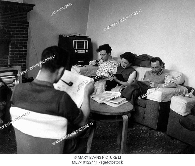 Undergraduates relaxing in the Common Room at Ruskin College, Oxford