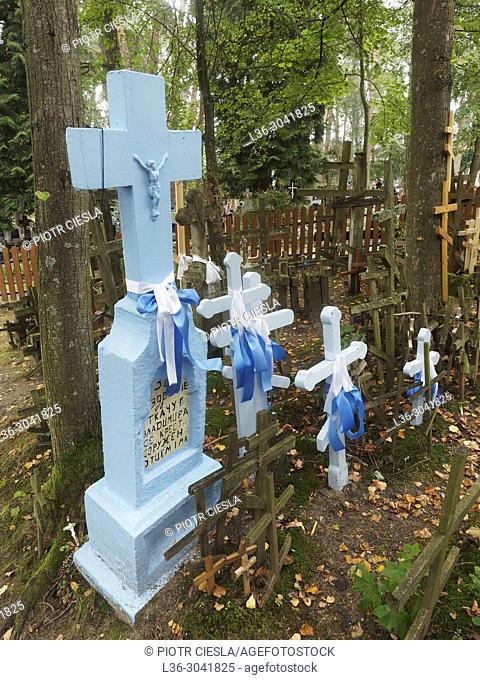 Poland. Grabarka. The Holy Hill and church of the Polish Orthodox Church. Crosses raround the church