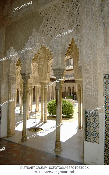 Moorish decoration in the Nazaries Palace, Alhambra, Granada, Andalucia, Spain, Europe