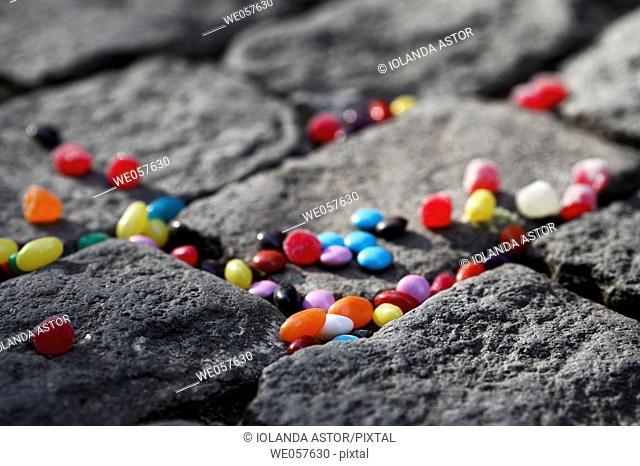 Jelly beans on coblestones