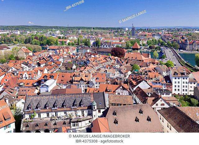 View of historic centre from cathedral, Constance, Lake Constance, Baden-Württemberg, Germany