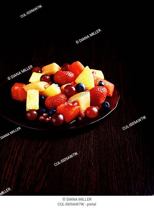 Fruit salad on plate