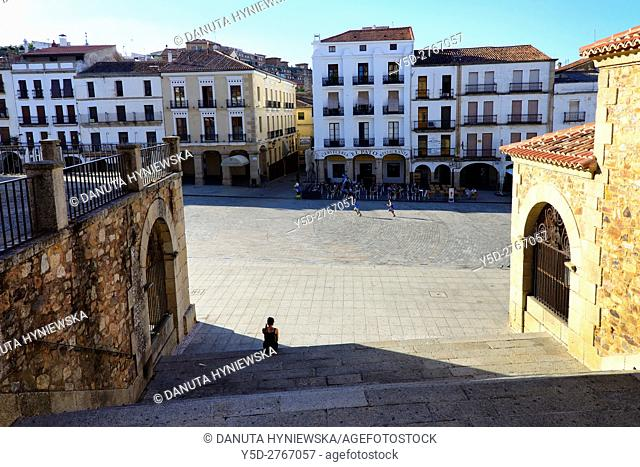 Plaza Mayor in Caceres seen from steps leading to Arco de la Estrella - Arch of the Star, Old Town of Caceres, UNESCO World Heritage, Extremadura, Spain, Europe