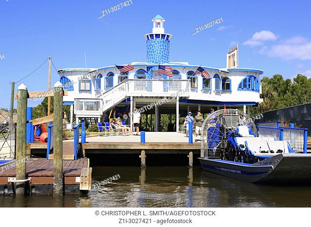 Lighthouse and Airboat tour center in Everglades City, Florida USA