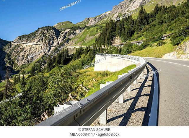 Mountain pass, gallery of Flexen Pass, Vorarlberg, Austria