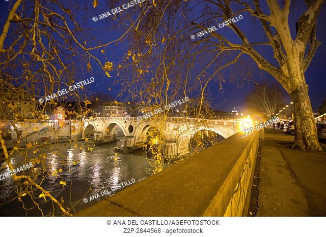 Nightscape in the banks of Tiber river Rome Italy