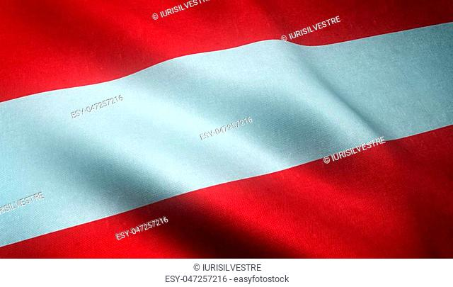 Realistic flag of Austria waving with highly detailed fabric texture