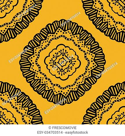 Vector seamless yellow pattern. Isolated on yellow