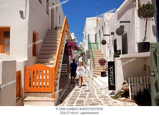 Tourists walking in the alleys of the town, Naoussa, Paros, Cyclades Islands, Greek Islands, Greece, Europe
