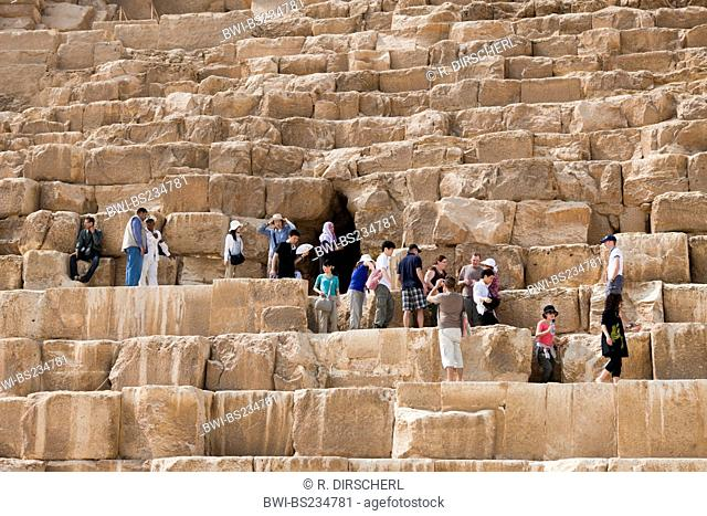 Tourists at Entrance of Pyramid of Cheops, Egypt, Kairo