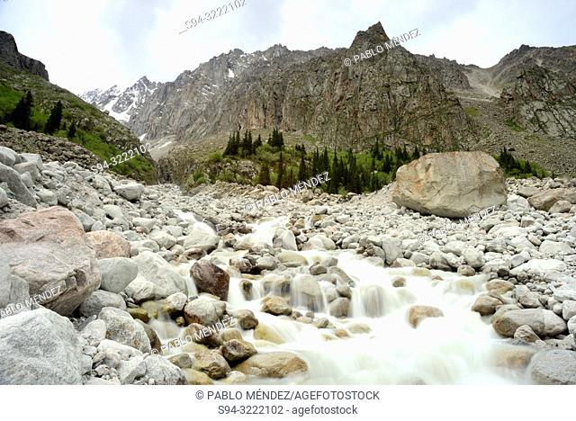 Ak Sai stream in Ak Sai valley, Ala Archa, Chui province, Kyrgyzstan