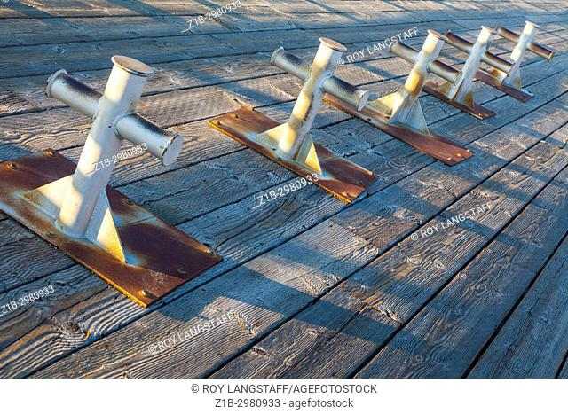 Abstract image of steel structures bolted to a wooden jetty for decorative purposes. Steveston, Richmond, British Columbia