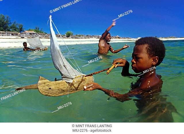 Vezo children playing in lagoon, Andavadoaka, Western Madagascar