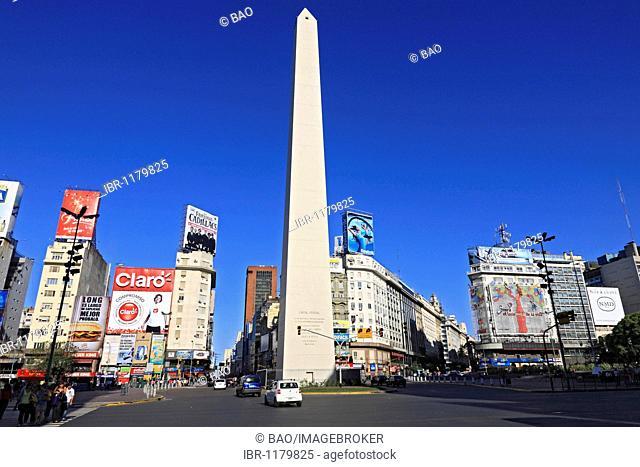 Obelisk at the Plaza de la Republica in the city of Buenos Aires, Argentina, South America