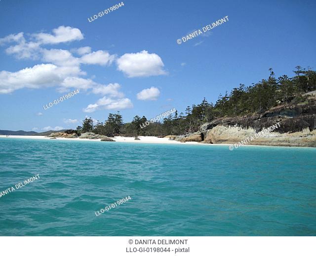White silica sand beach, Hill Inlet, Tounge Point, Whitsunday Island, Whitsunday Islands, Queensland, Australia