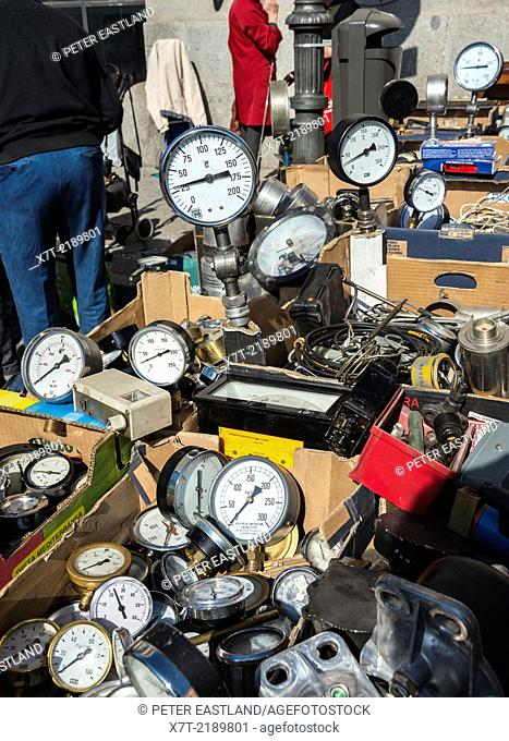 Old pressure guages for sale in the Rastro flea market around Lavapies and Embajadores in the centre of Madrid, Spain