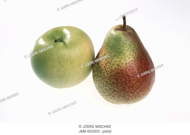 A green apple and a red and green pear