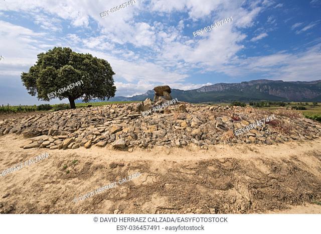 Megalithic Dolmen Chabola de la Hechicera, in La Guardia, Basque Country, Spain