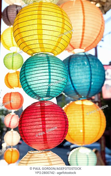 Vancouver, Canada: Rows of colorful paper lanterns along E Pender Street in Chinatown