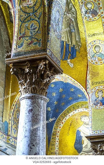 Church Santa Maria dell'Ammiraglio detta la Martorana, Details of the Columns, Italy, Sicily, Palermo