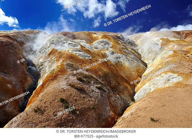 Leirhnjúkur Mountain, solfatara, sulfur fumaroles, caldera Krafla, Mývatn, Iceland, Europe