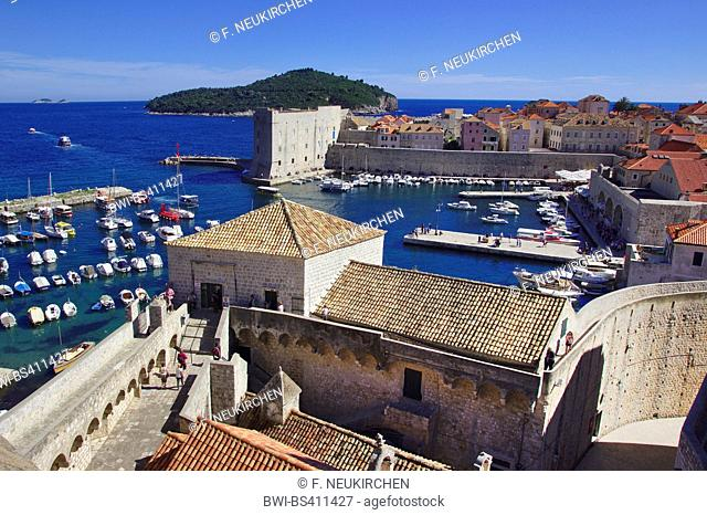 view from city wall to the harbour, Croatia, Dubrovnik