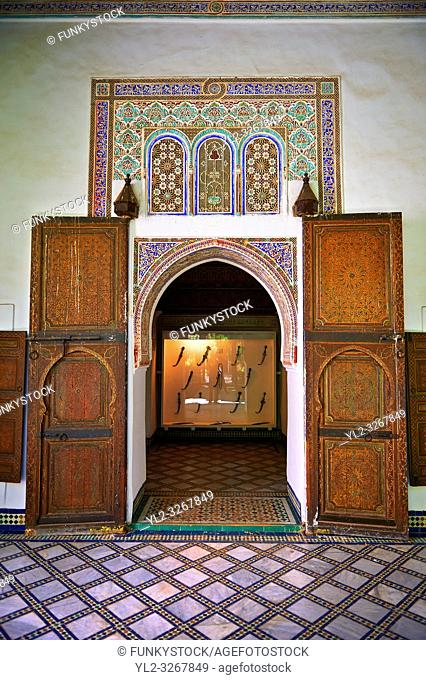 Berber arabesque doors of the Petite Court, Bahia Palace, Marrakesh, Morroco