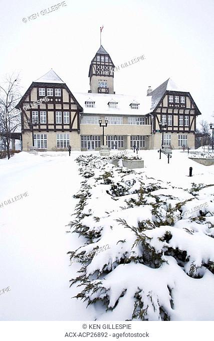 Assiniboine Park Pavillion during a snowfall. Winnipeg, Manitoba, Canada