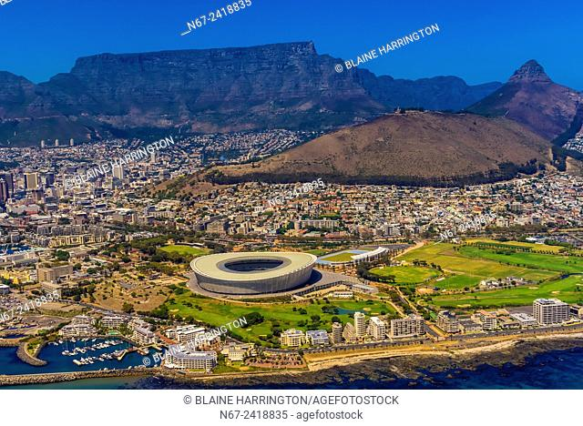 Aerial view, Cape Town Stadium, Signal Hill, Table Mountain and Lion's Head in background, Cape Town, South Africa