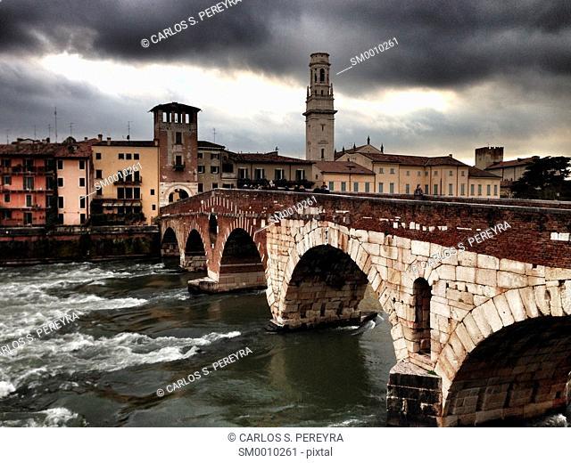 View of Adige river and St Peter bridge, Verona, Italy