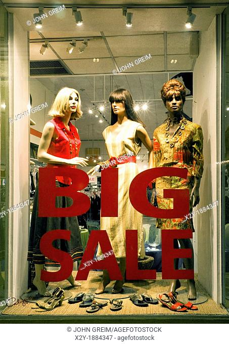 Sale sign in a womens clothing store, Hamilton, Bermuda