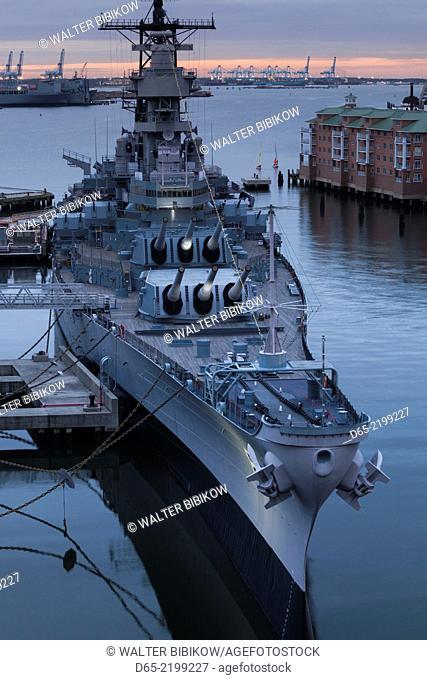 USA, Virginia, Norfolk, WW2-era battleship USS Wisconsin, elevated view, dusk