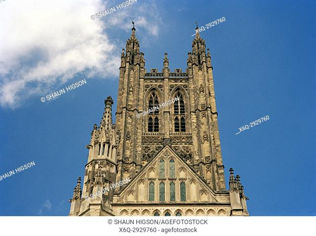Central Tower or Bell Harry Tower of Canterbury Cathedral in City of Canterbury in Kent in England in Great Britain in the United Kingdom