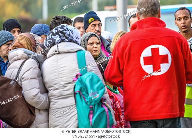 ROOSENDAAL, THE NETHERLANDS â?? OCTOBER 2: Arrival two hundred refugees on Metsj Point in Roosendaal on October 2, 2015 in Roosendaal, The Netherlands