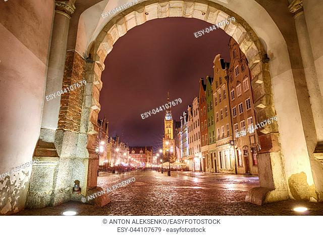 Long Market in Gdansk, view from the Green Gate, Poland