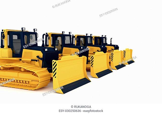 Yellow bulldozers.3d illustration isolated on white background