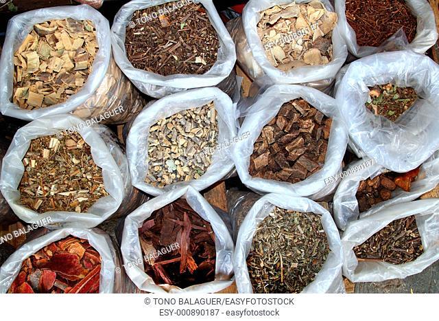 herbal natural medicines vegetal herbs in mexican market
