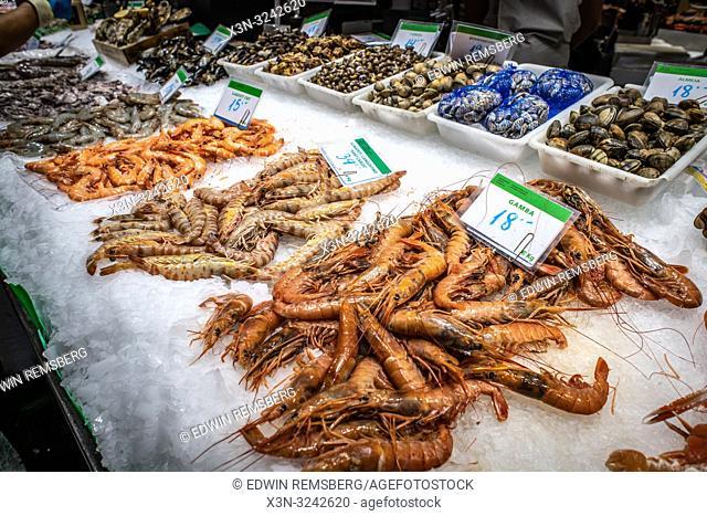 Seafood for sale in La Boqueria Food Market in Barcelona ,Spain