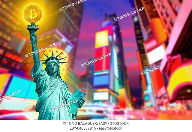New york skyline with liberty holding bitcoin concept photomount