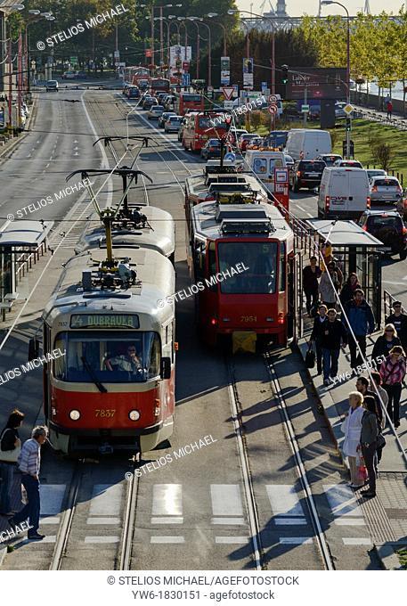 Early Morning Trams, Bratislava, Slovakia, Europe