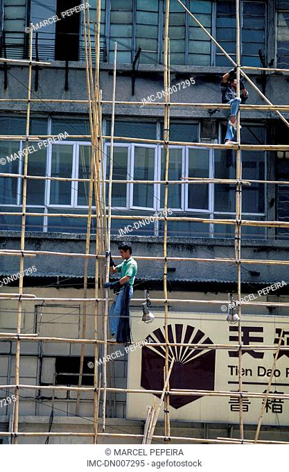 China, Hong Kong, Kowloon, scaffoldings