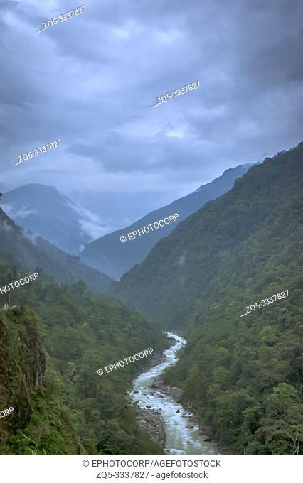 River flowing through mountains, Sikkim, India