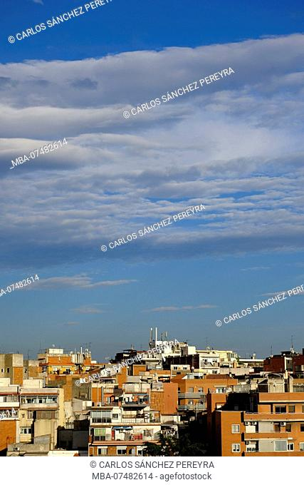 View of the neighborhood of La Trinitat Vella in the city of Barcelona, capital of Catalonia in Spain