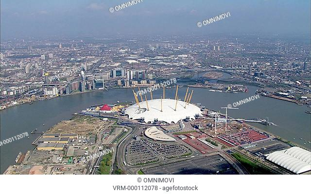 Aerial view of The O2 Arena and Canary Wharf and London skyline
