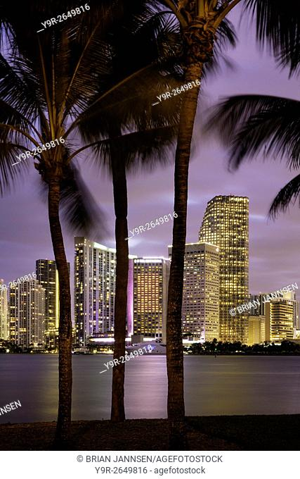 Twilight over Miami Skyline, Miami, Florida, USA